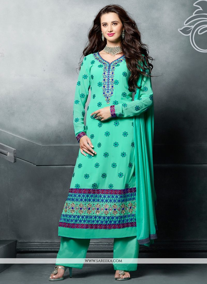 f81a1c4205 Resham Work Sea Green Designer Pakistani Suit -