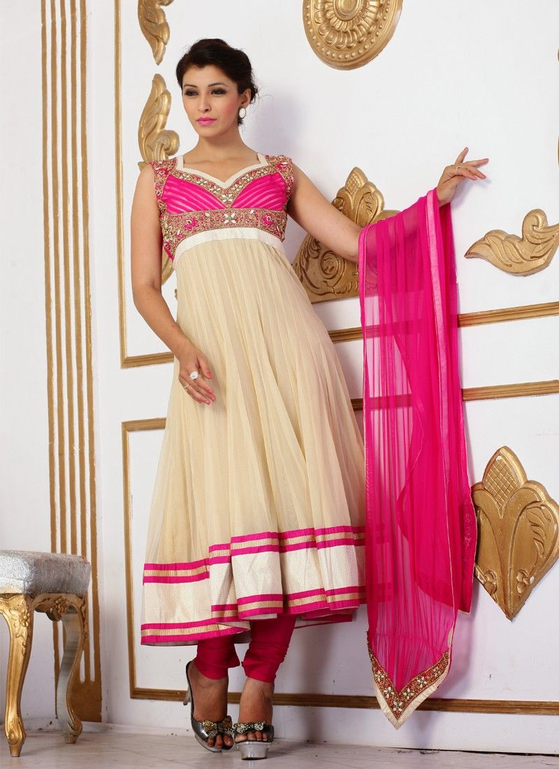 Beige And Pink Embroidery Work Anarkali Suit