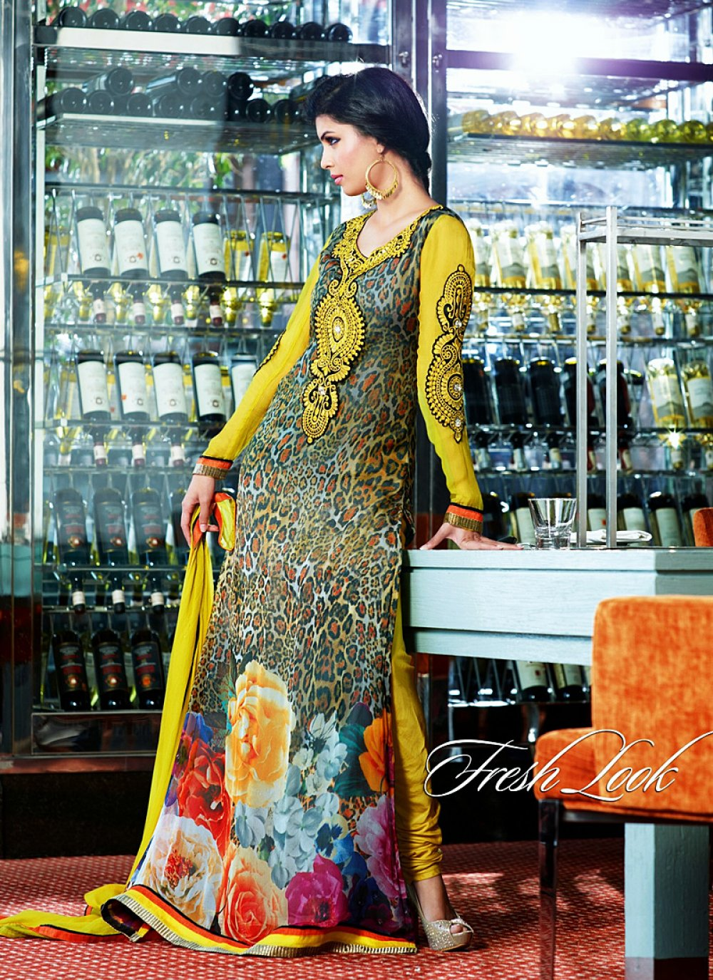 Black And Mustard Embroidery Georgette Churidar Suit