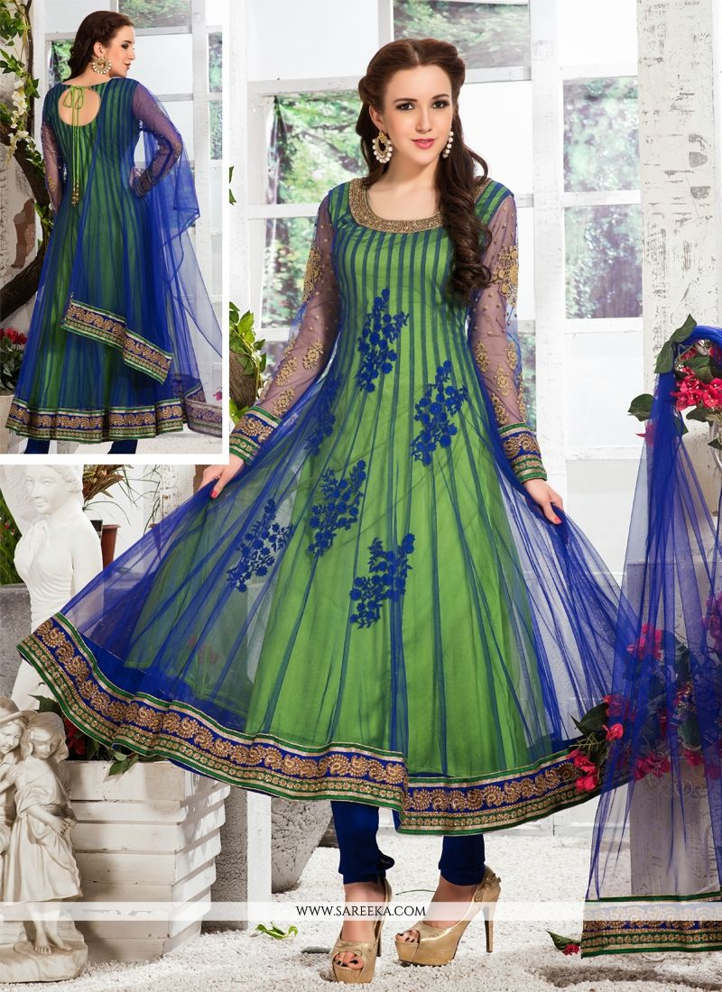 3cf4df0f21 Blue And Green Net Anarkali Suit -