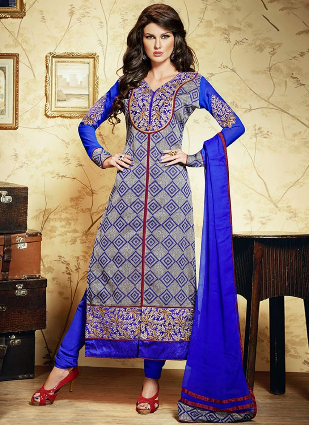 Blue And Grey Printed Cotton Churidar Suit
