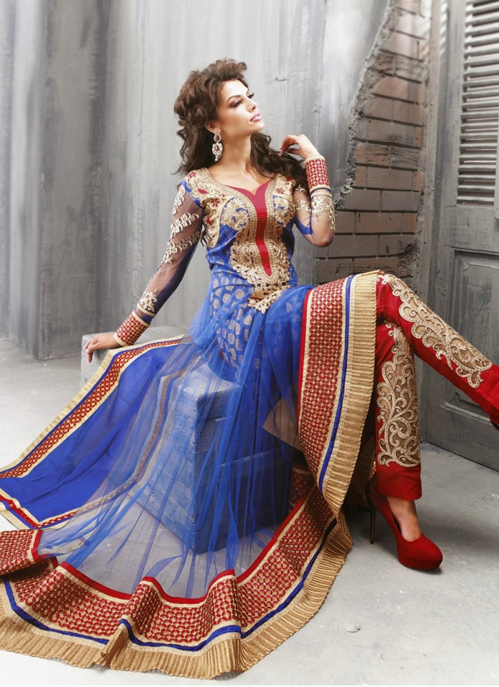 Blue And Red Embroidery Work Net Anarkali Suit