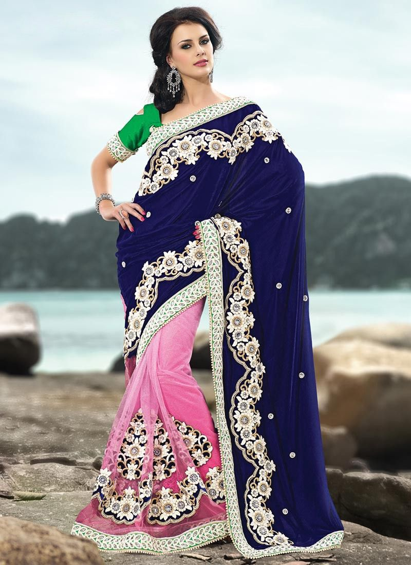 Blue and Shaded Pink Velvet and Net Saree