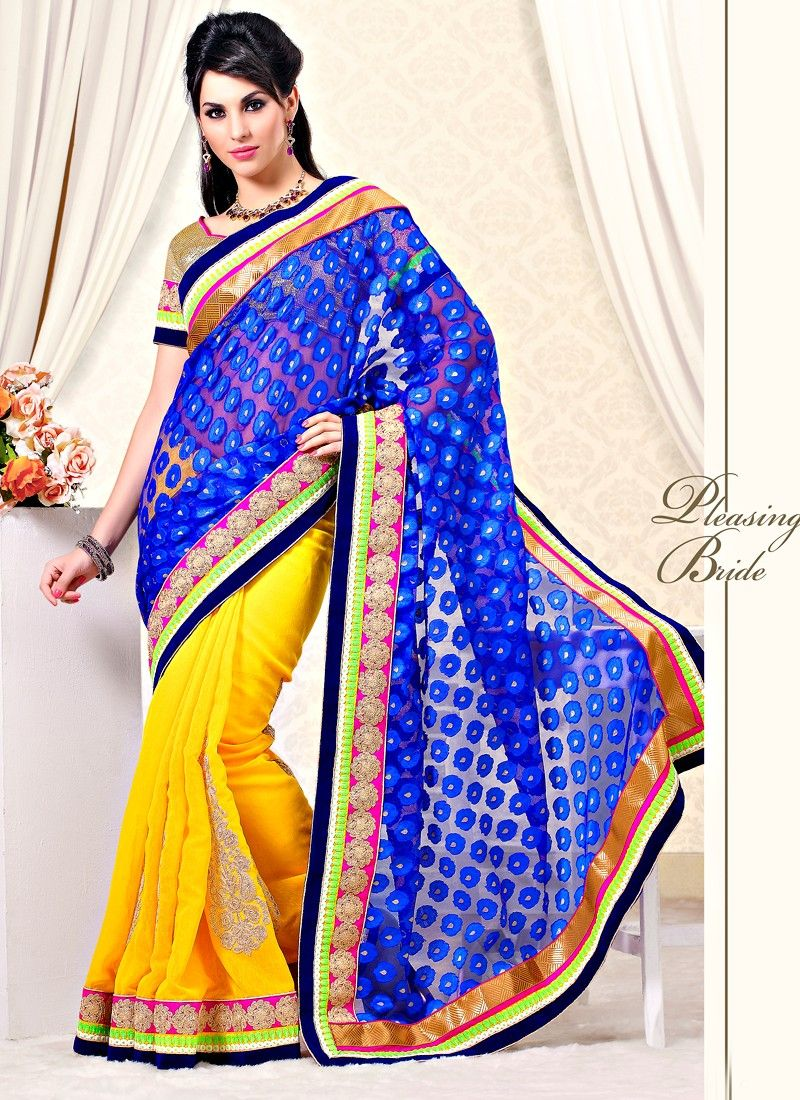 Blue And Yellow Juit Silk Fabric Half And Half Saree