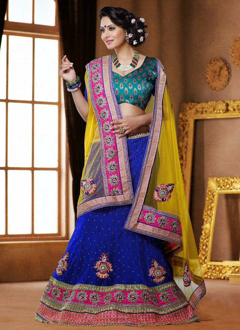 Blue And Yellow Stone Work Net Lehenga Choli