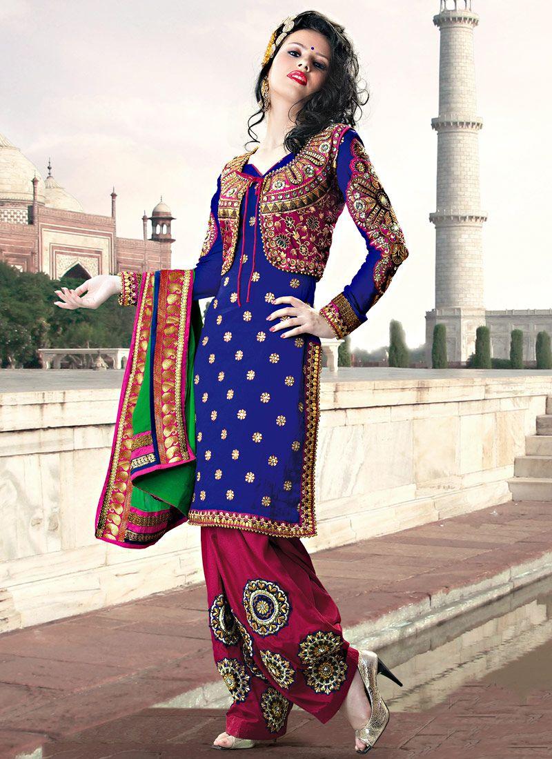 Blue Art Silk Embroidered Salwar Suit