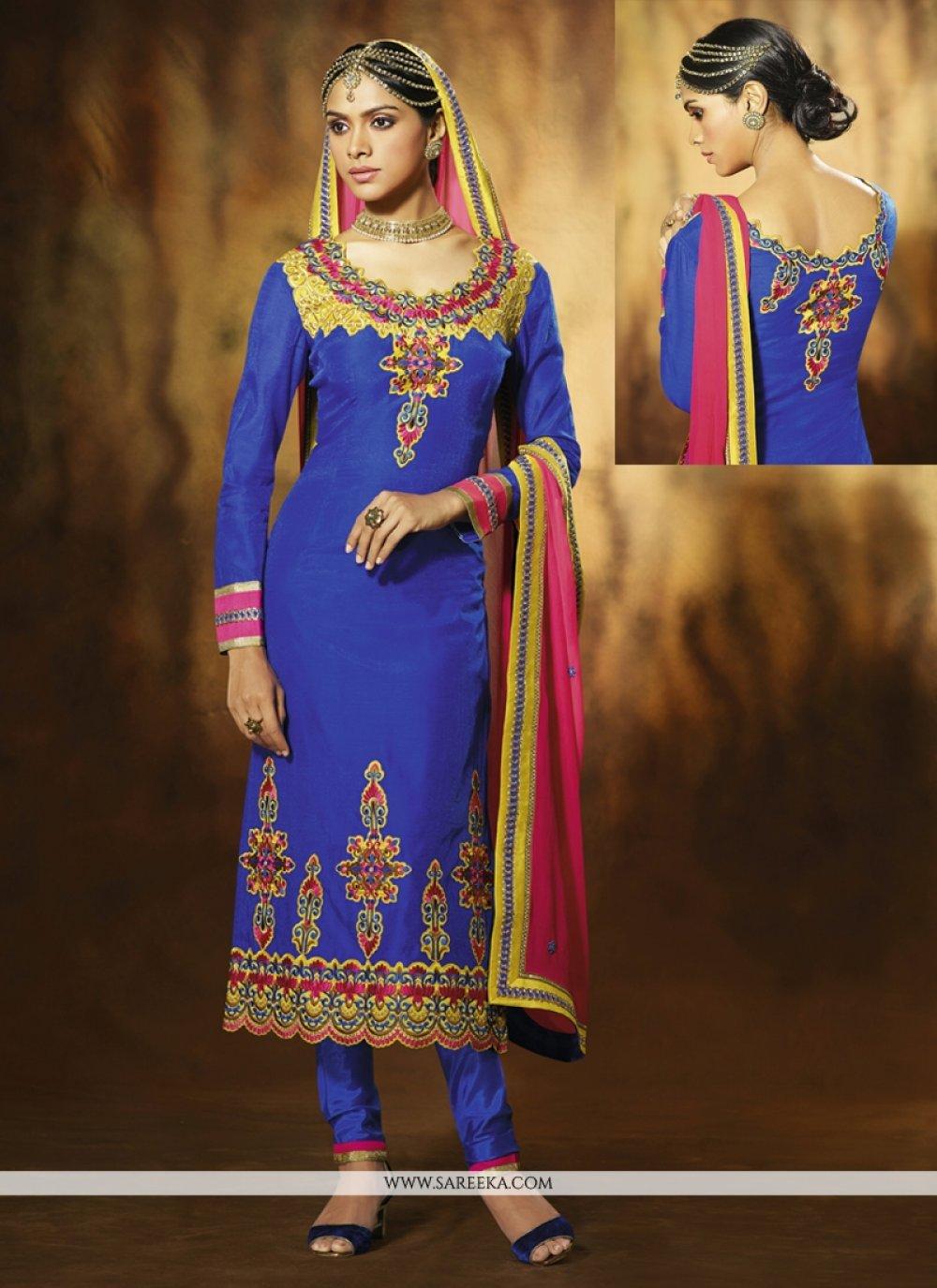 Blue Art Silk Pant Style Salwar Suit