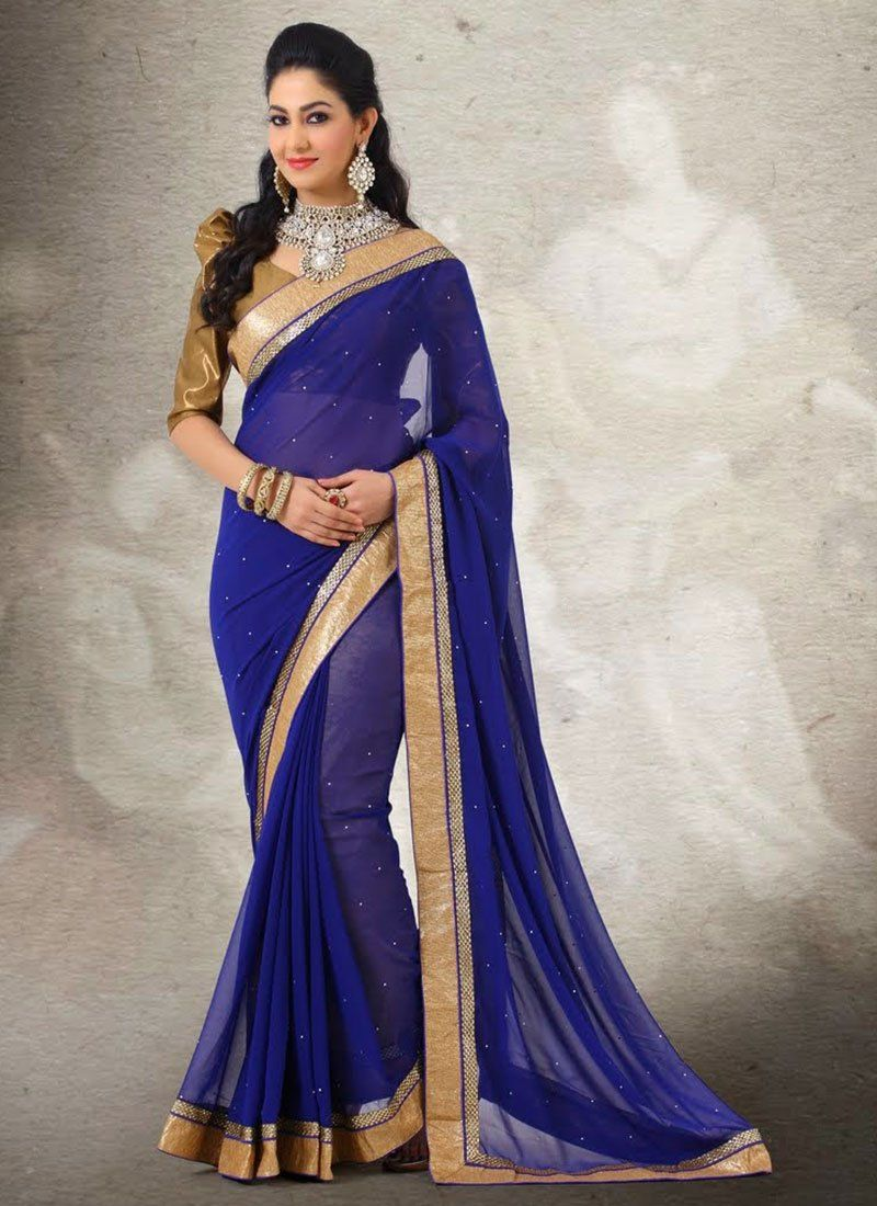 Blue Crystal Work Faux Chiffon Saree