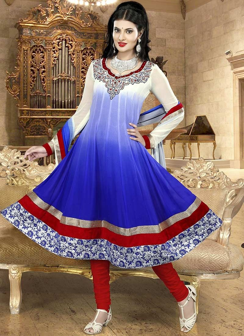 Blue Embroidered Chiffon Churidar Suit