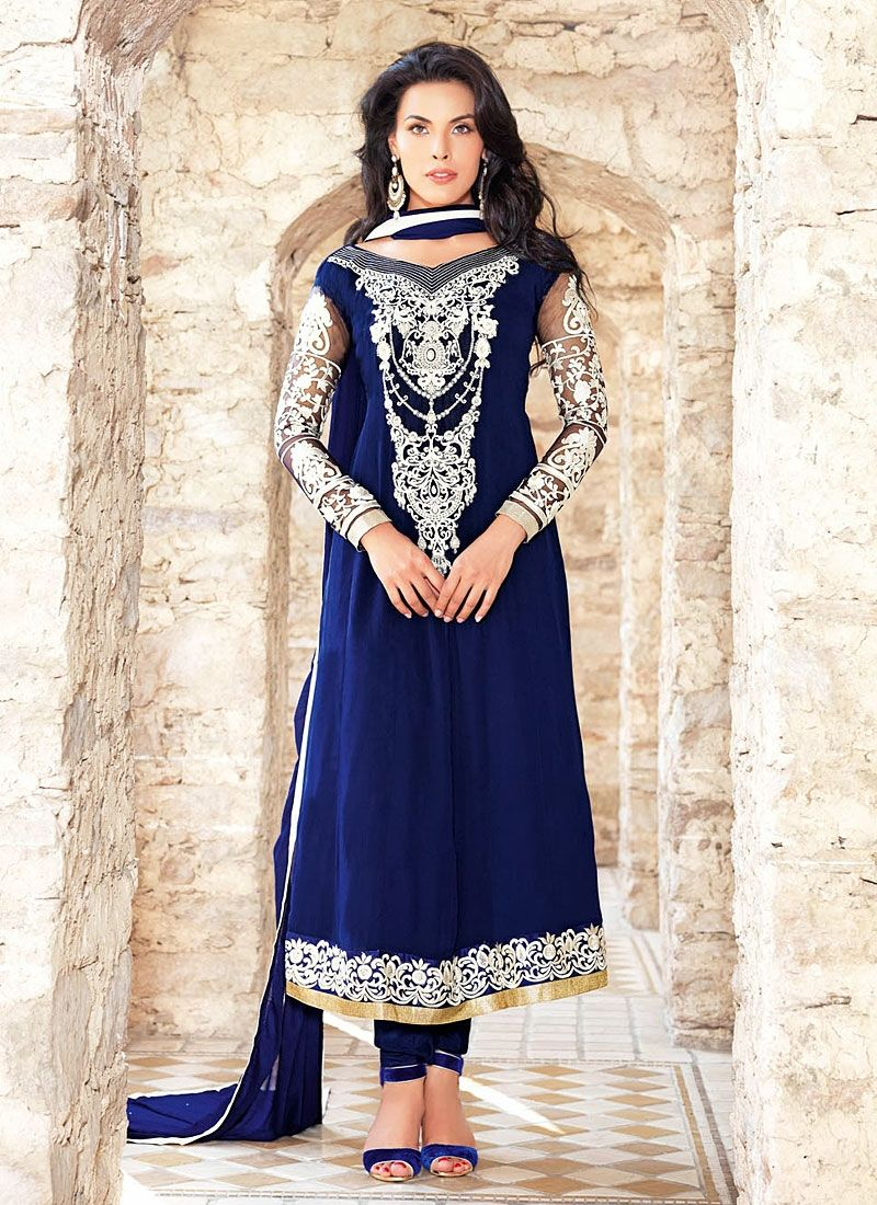 Blue Embroidered Designer Churidar Suit