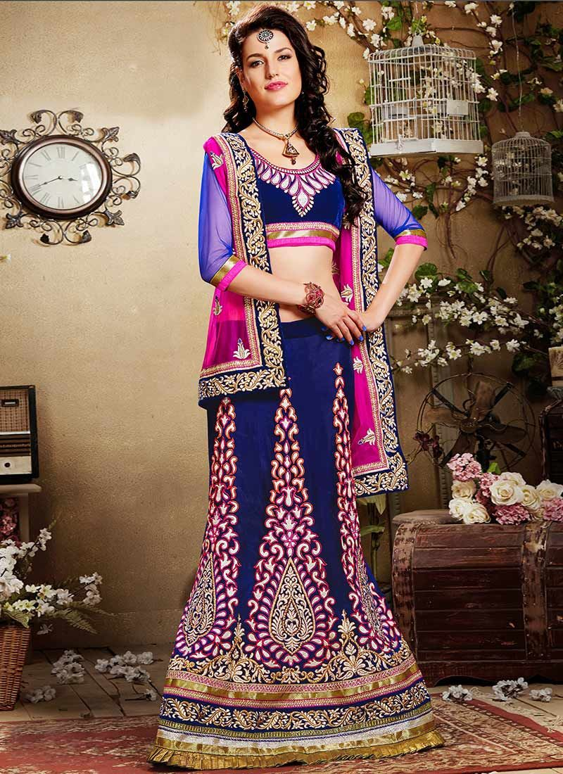 Blue Embroidered Viscose Lehenga Choli