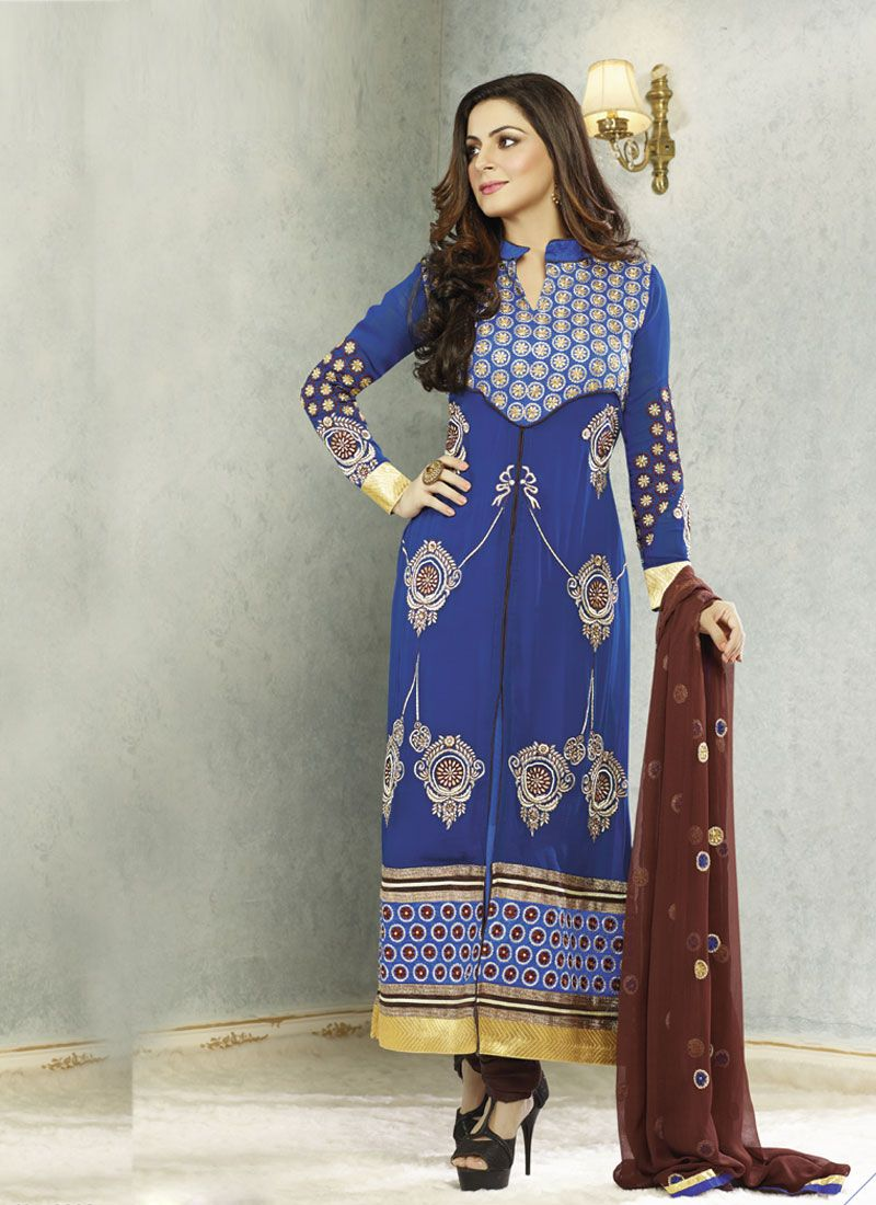 Blue Embroidery And Resham Work Churidar Suit