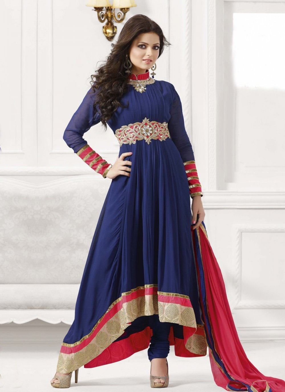 Blue Embroidery Work Anarkali Salwar Suit