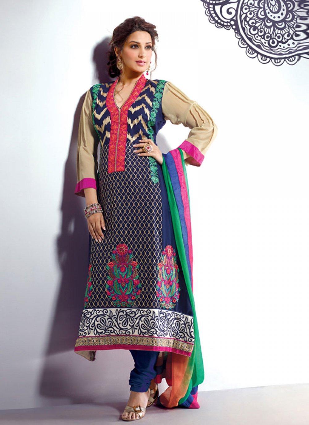 Blue Embroidery Work Churidar Salwar Kameez