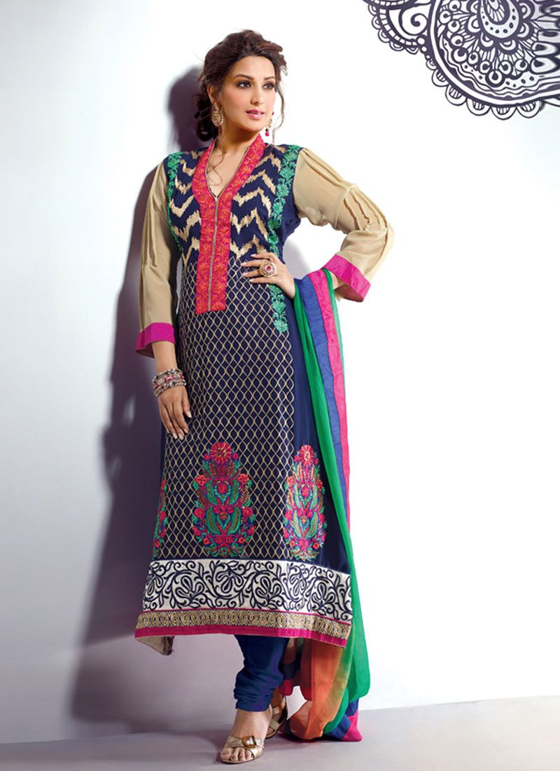 Blue Embroidery Work Churidar Salwar Kameez