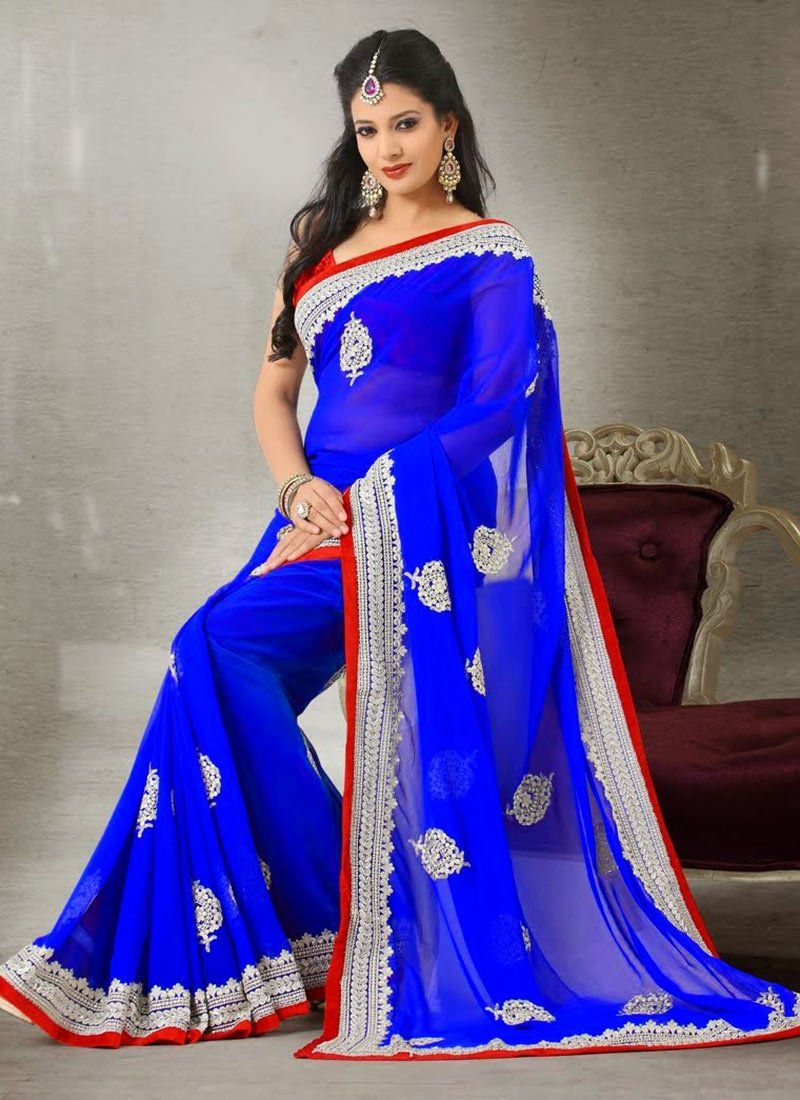 Blue Embroidery Work Faux Chiffon Saree