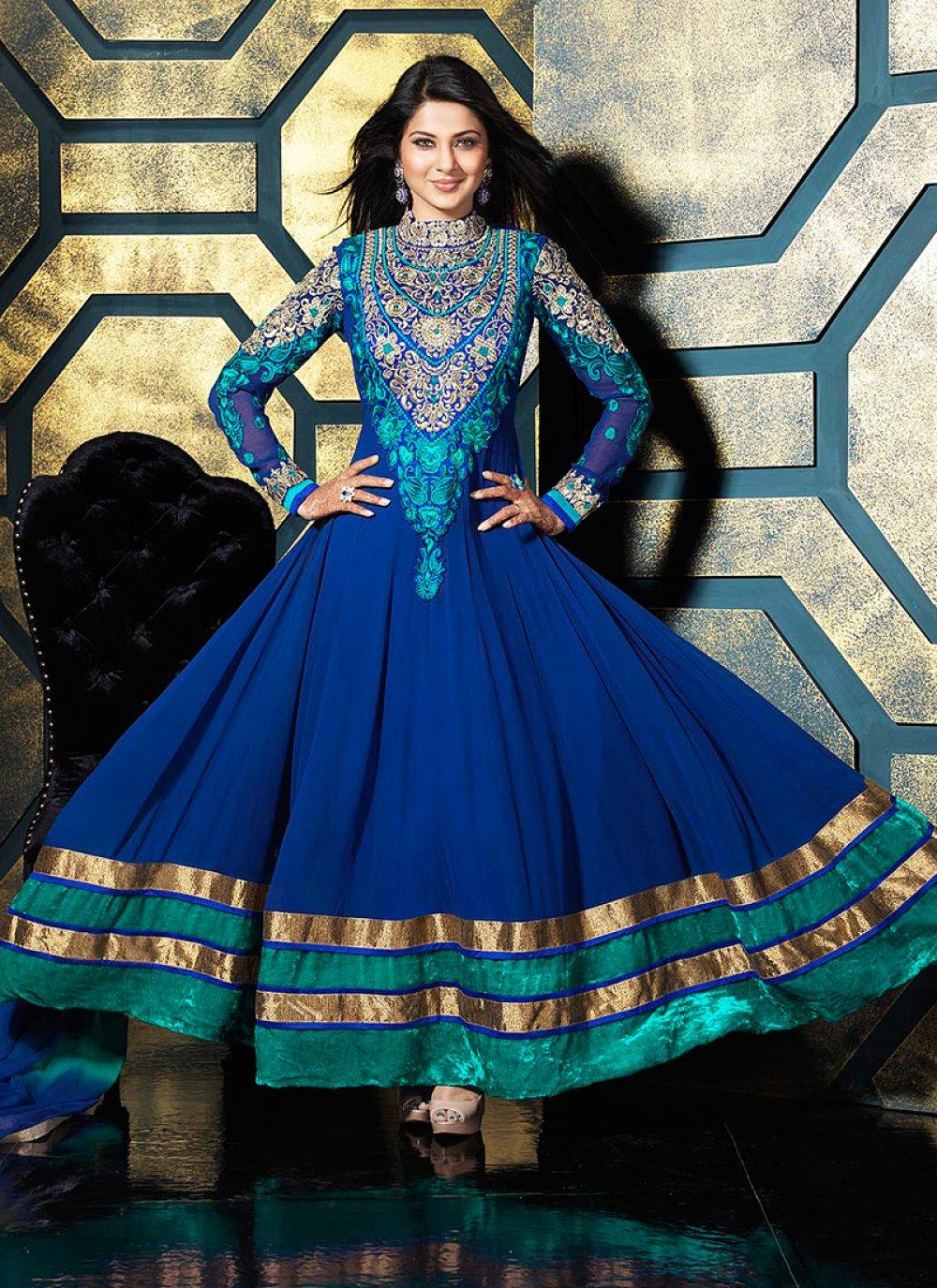 Blue Embroidery Work Faux Georgette Anarkali Suit