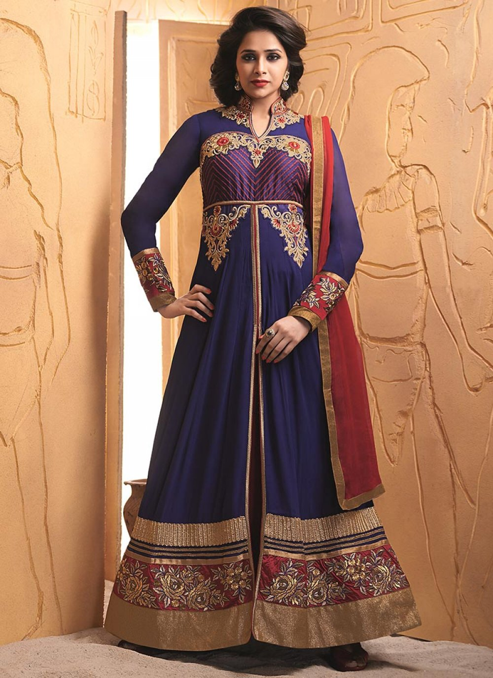 Blue Embroidery Work Length Anarkali Suit