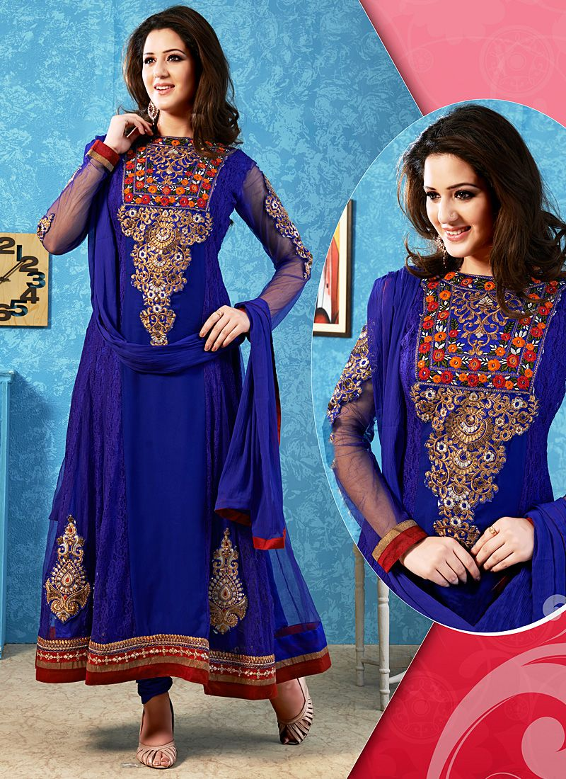 Blue Embroidery Work Net Anarkali Suit