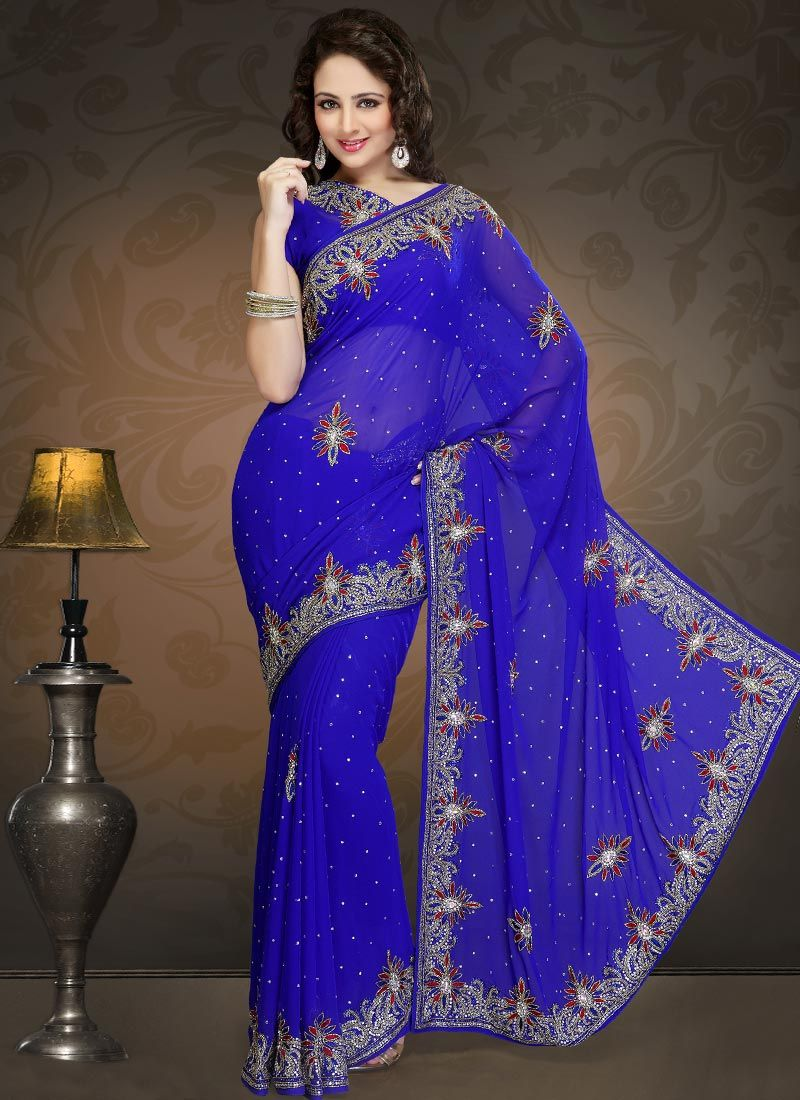 Blue Faux Georgette Border Work Saree