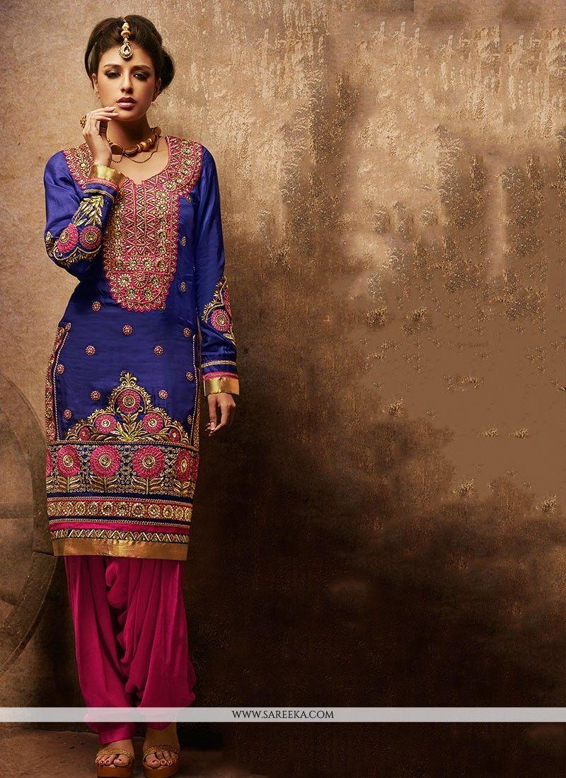 a61de44ef1 Blue Faux Georgette Punjabi Suit -