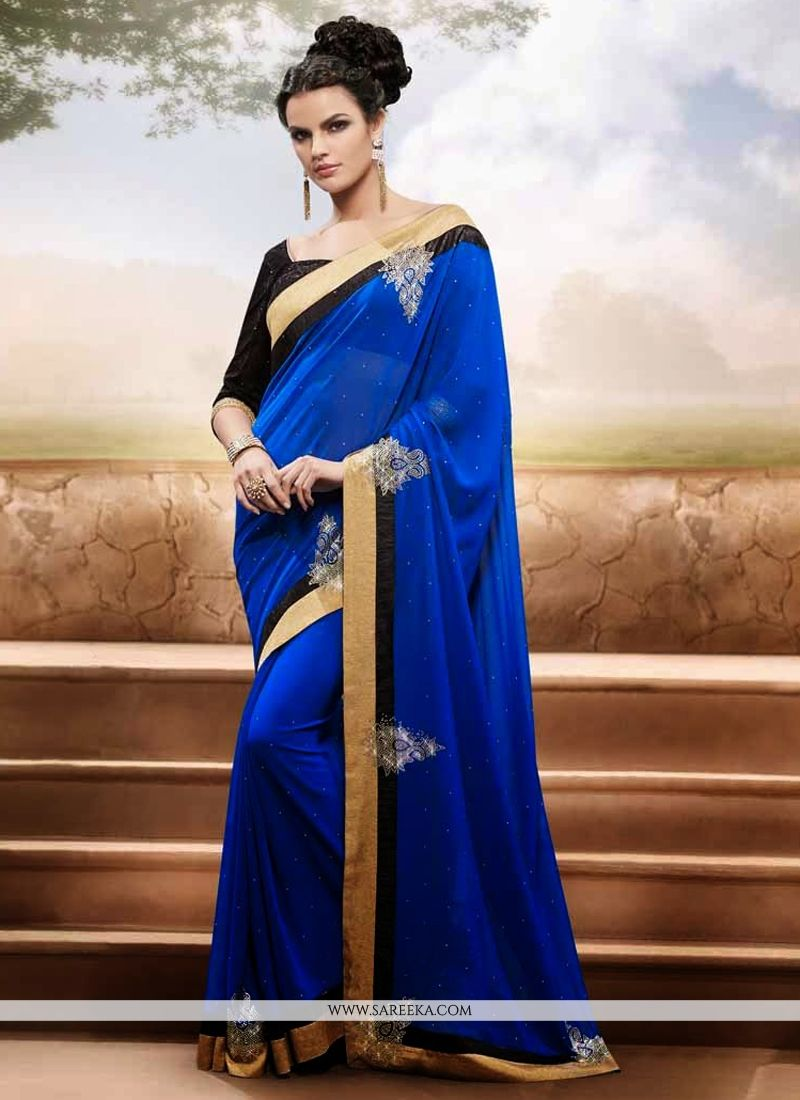 Blue Georgette Casual Saree