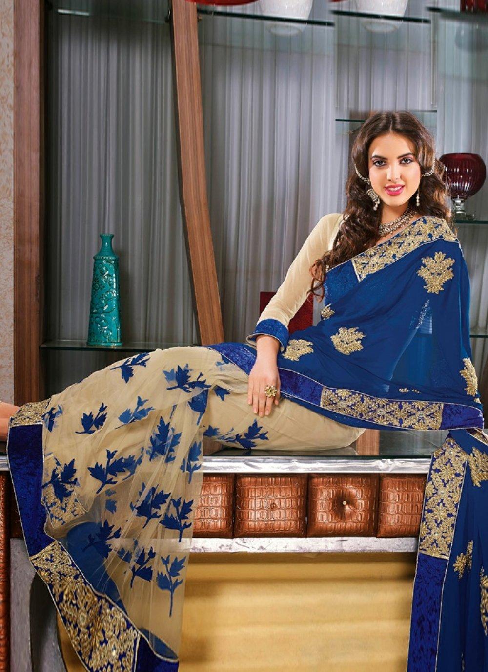 Blue Net Border Work Designer Saree