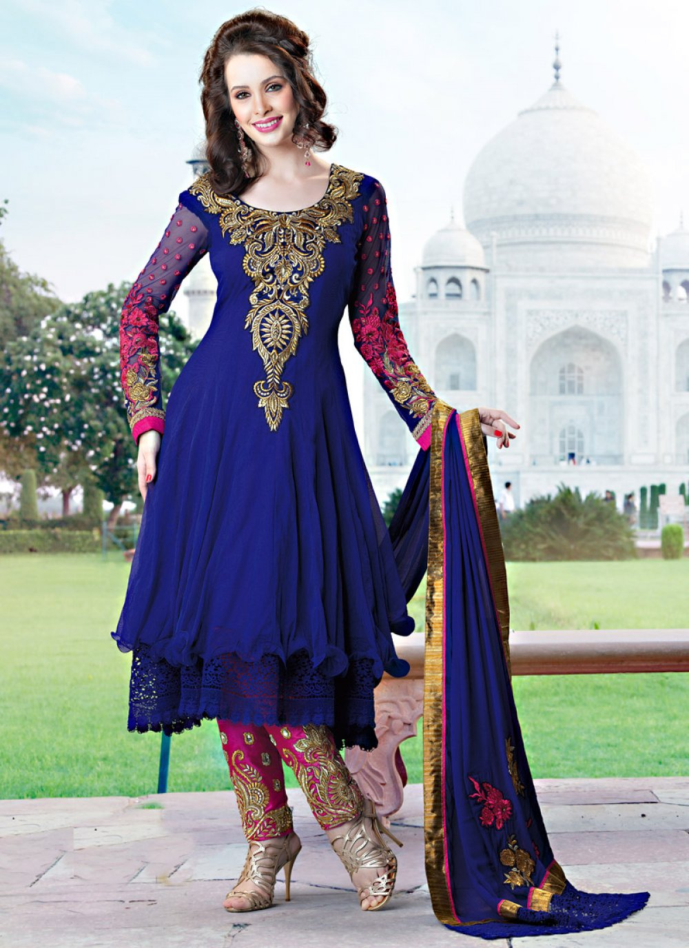 Blue Net Embroidered Churidar Suit