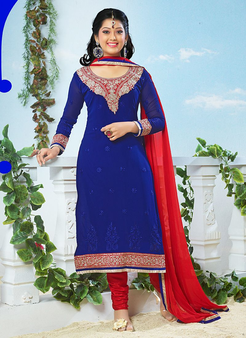 Blue Patch Border Work Georgette Churidar Suit