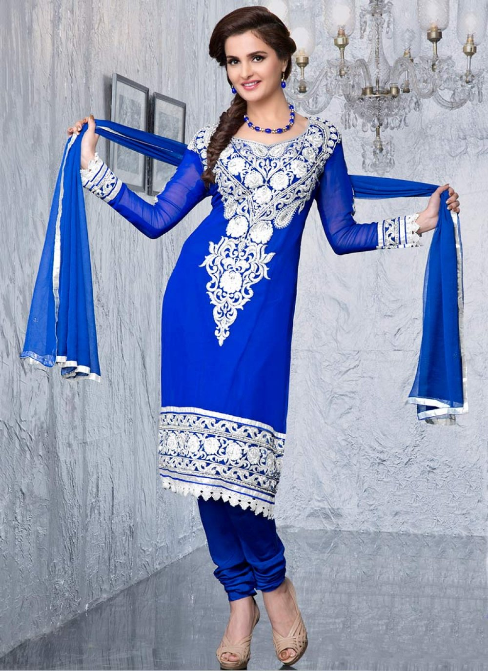 Blue Resham Enhanced Churidar Suit