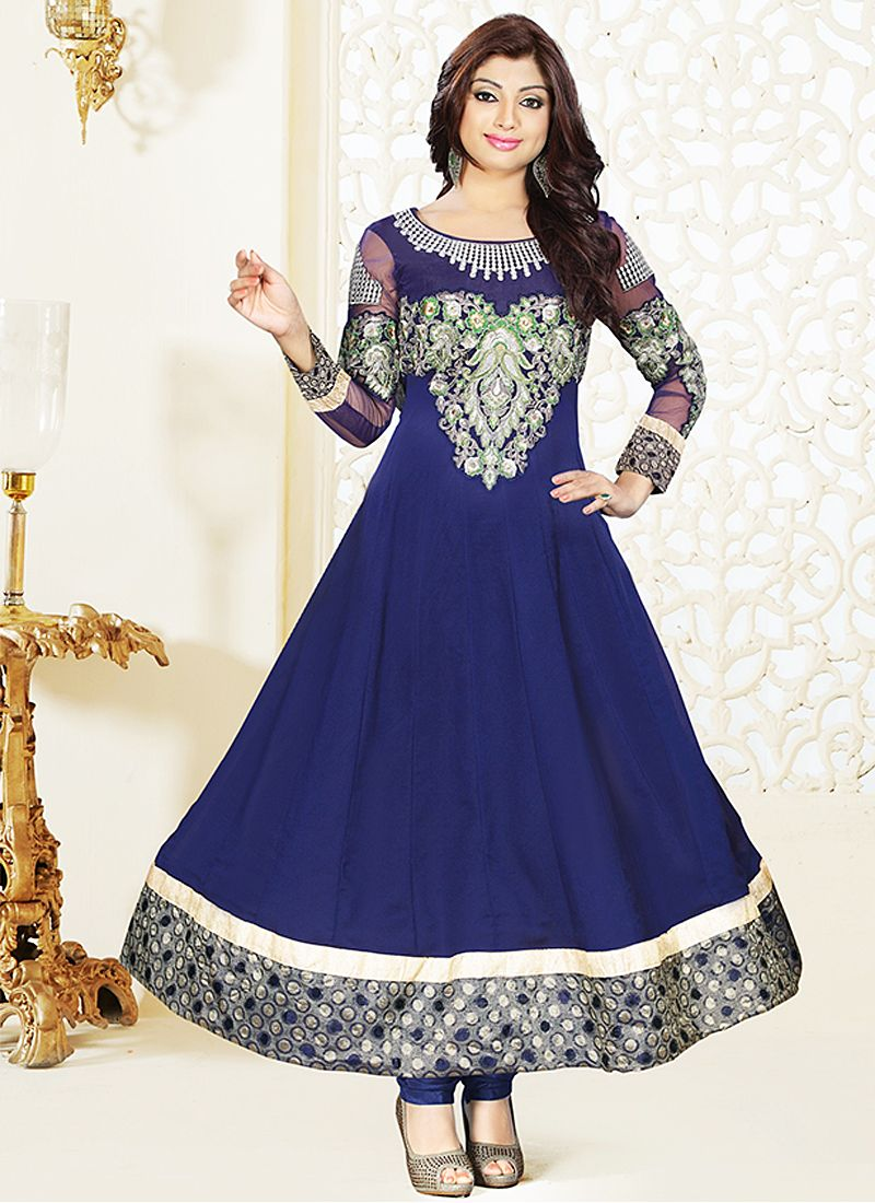 Blue Resham Patch Border Work Anarkali Suit