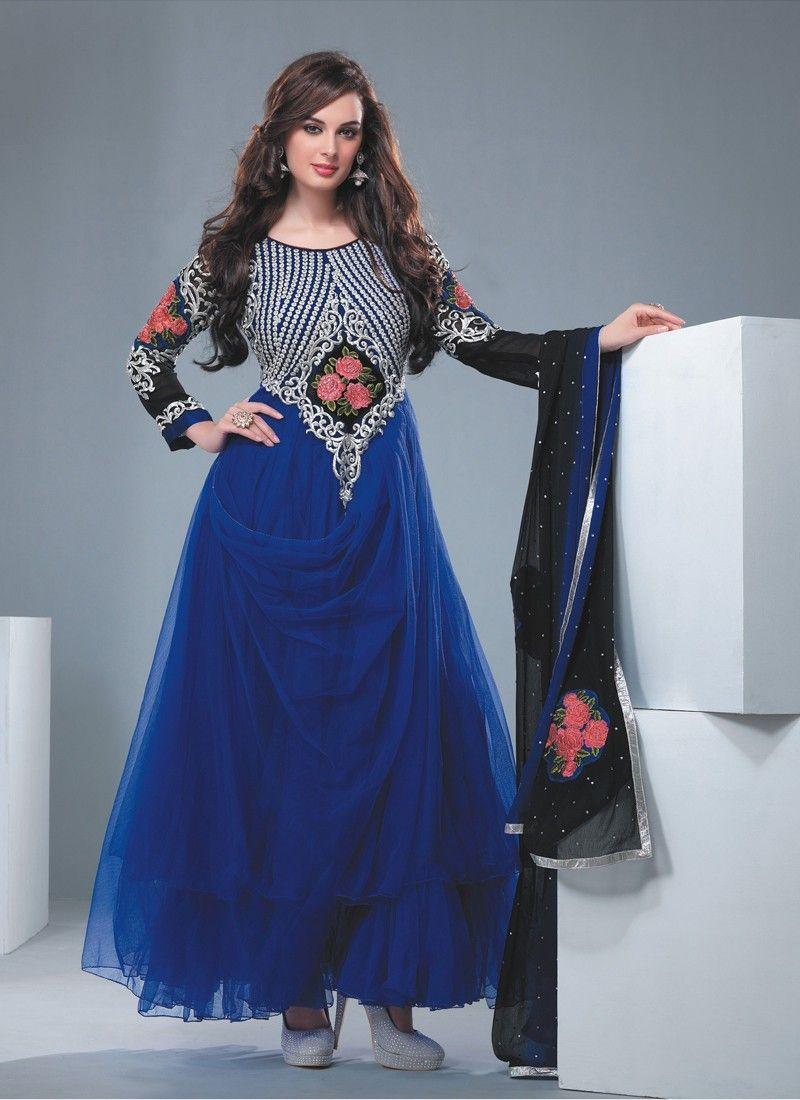 Blue Resham Work Georgette Anarkali Salwar Suit