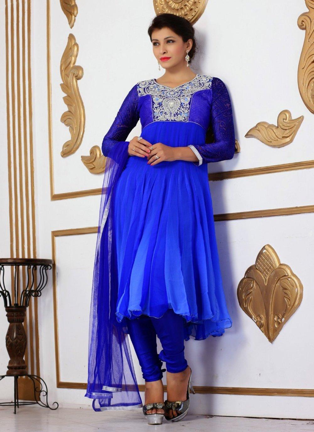 Blue Stone Faux Georgette Churidar Suit