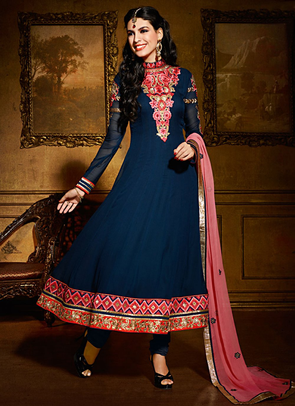 Blue Viscose Georgette Anarkali Suit