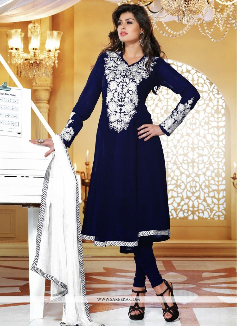 Blue Viscose Georgette Churidar Salwar Suit