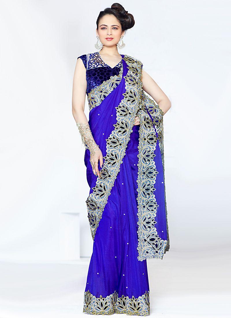 Blue Zari And Embroidered Silk Saree