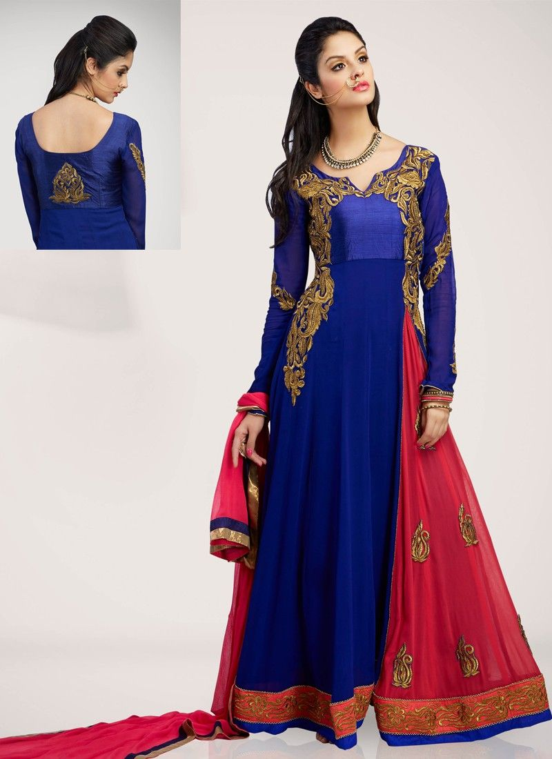 Blue Zari Work Faux Georgette Anarkali Suit