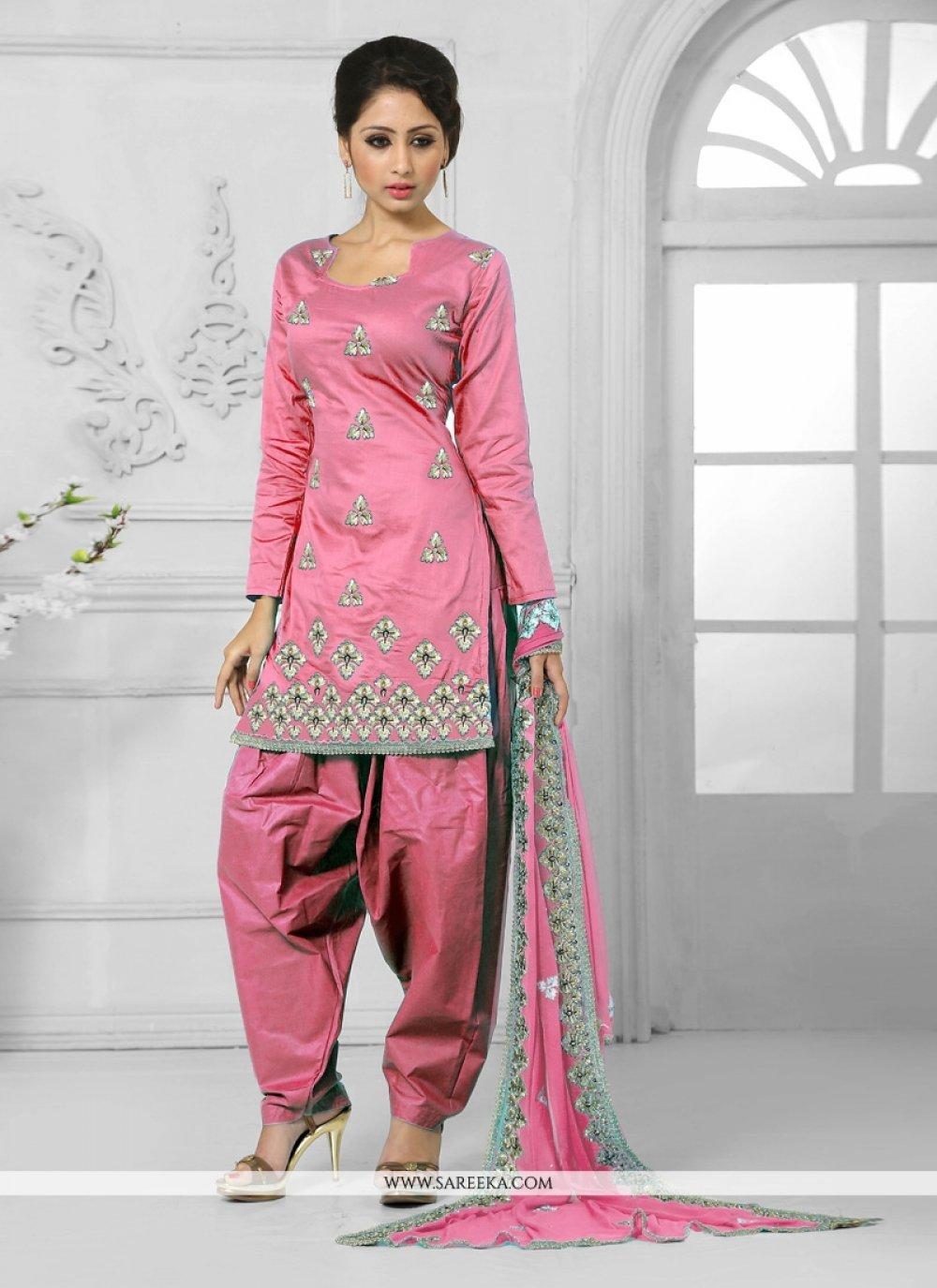 Cotton   Resham Work Designer Patiala Suit