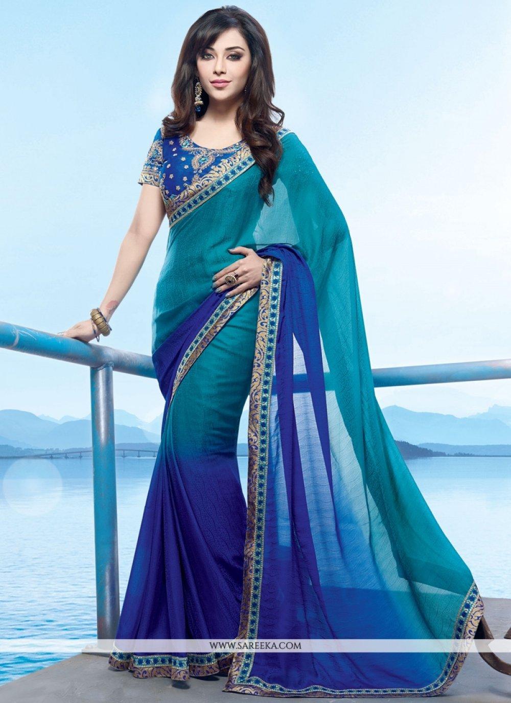 Georgette Blue Lace Work Designer Saree