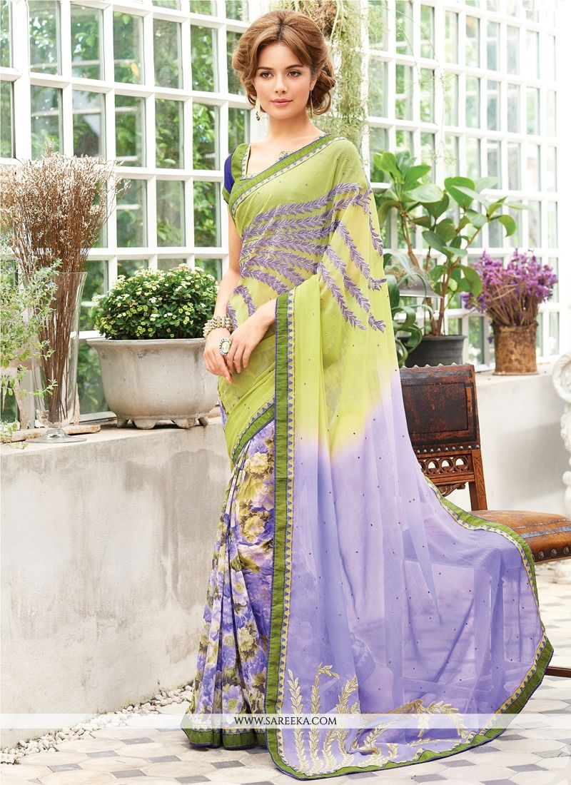 Georgette Green Designer Saree