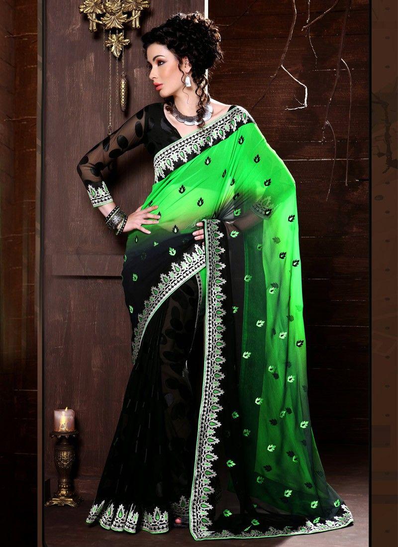 Green And Black Resham Work Half And Half Saree