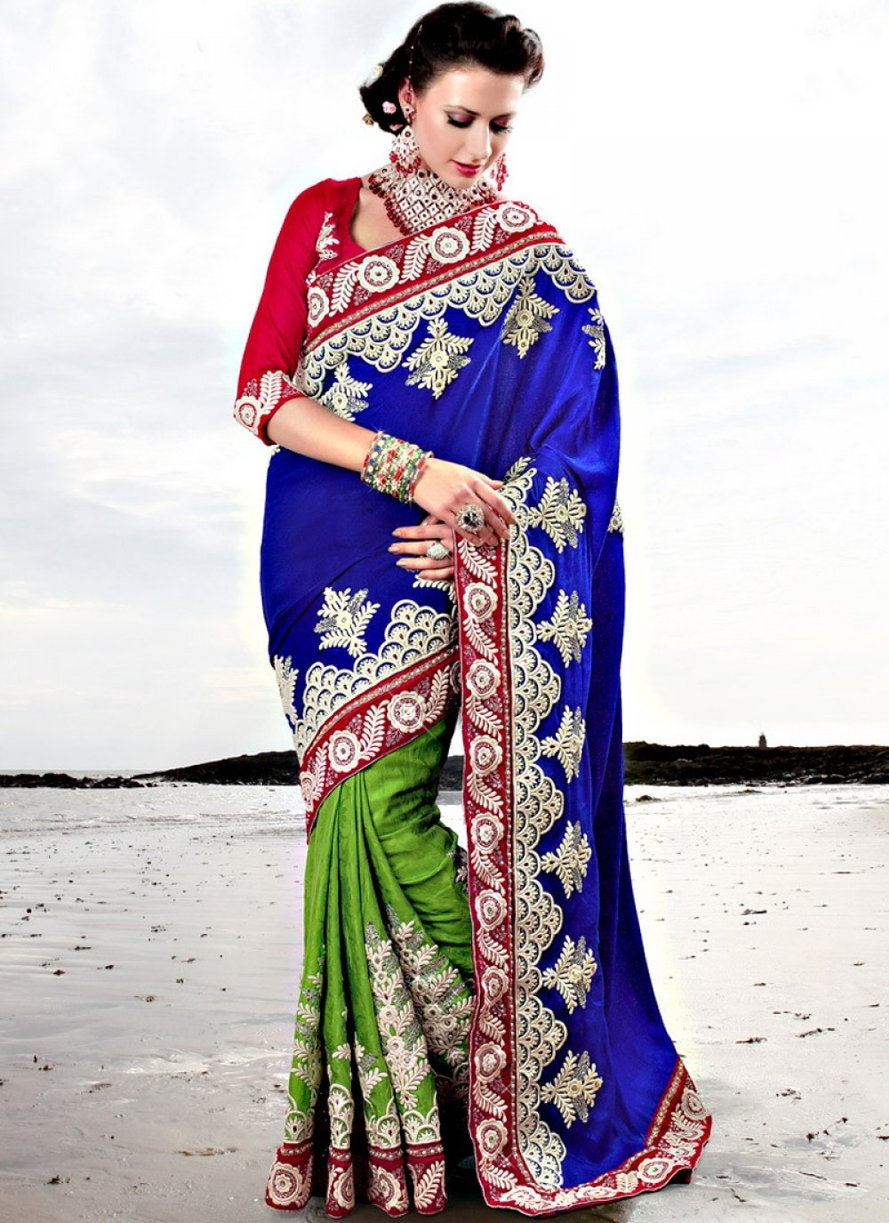 Green And Blue Embroidered Wedding Saree