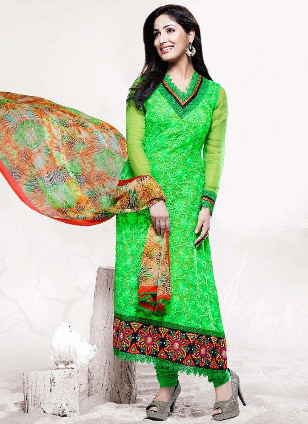 Green Cut Work Stylish Churidar Suit