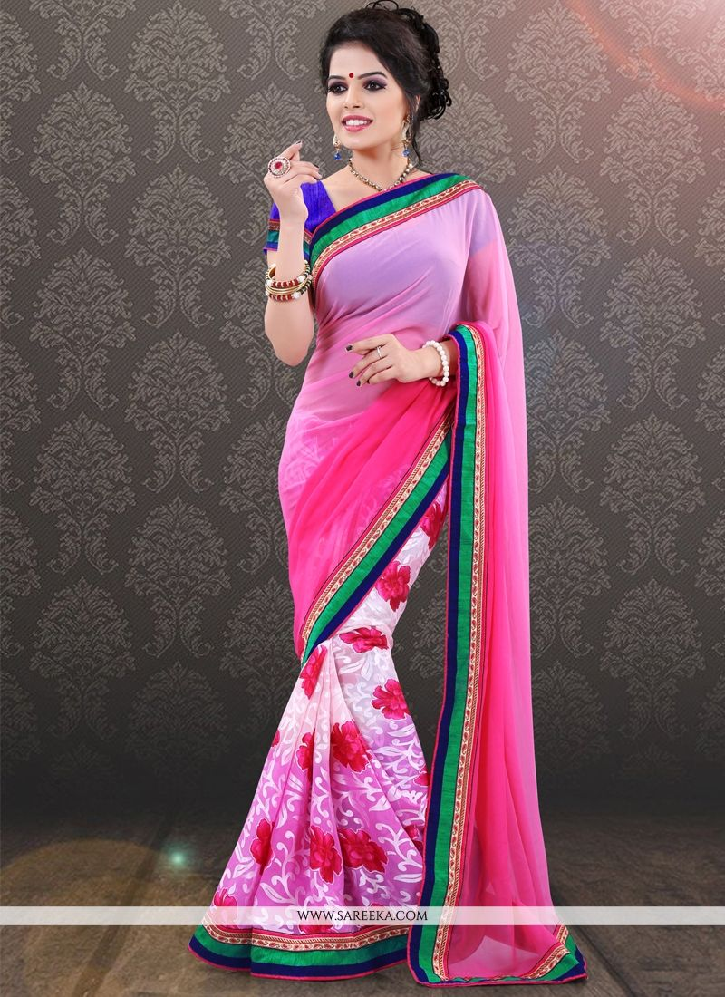 Pink Print Work Casual Saree