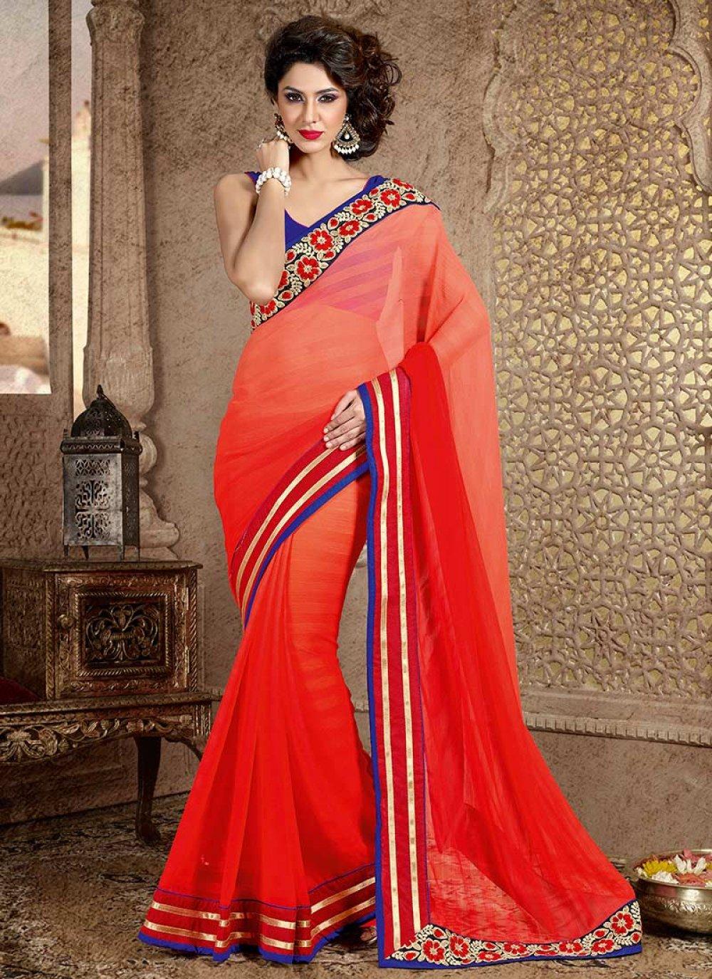 Red Look Faux Chiffon Saree