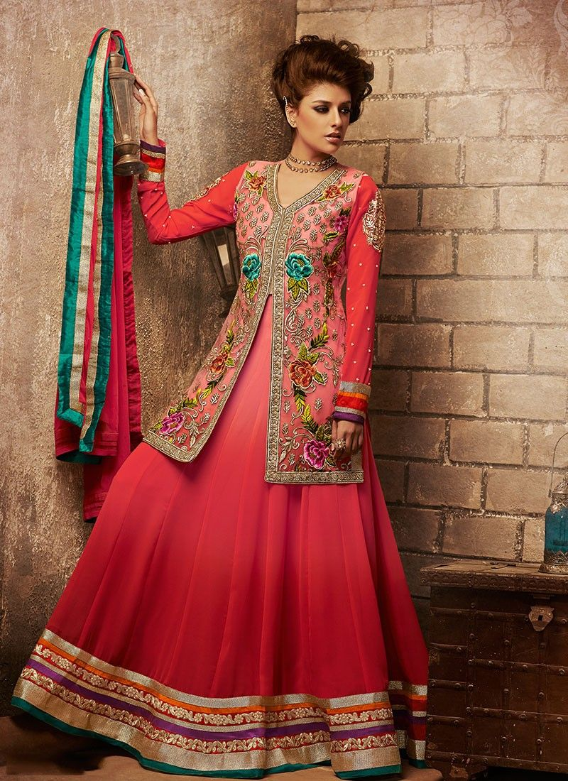 Red Net Stylish Anakali Suit