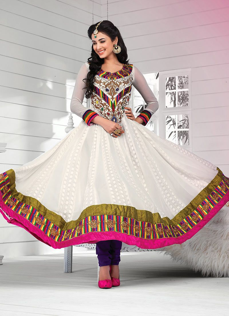 White Patch Border Work Anarkali Suit
