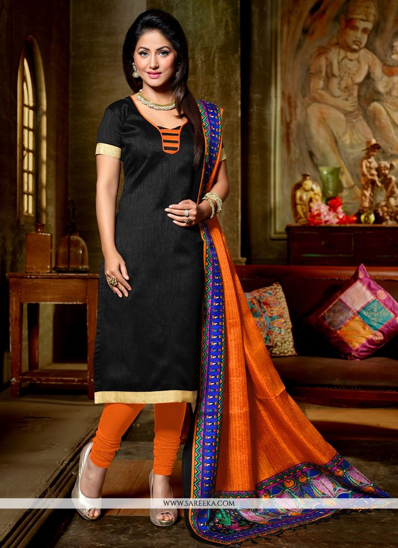 Banglori Silk Black Churidar Designer Suit