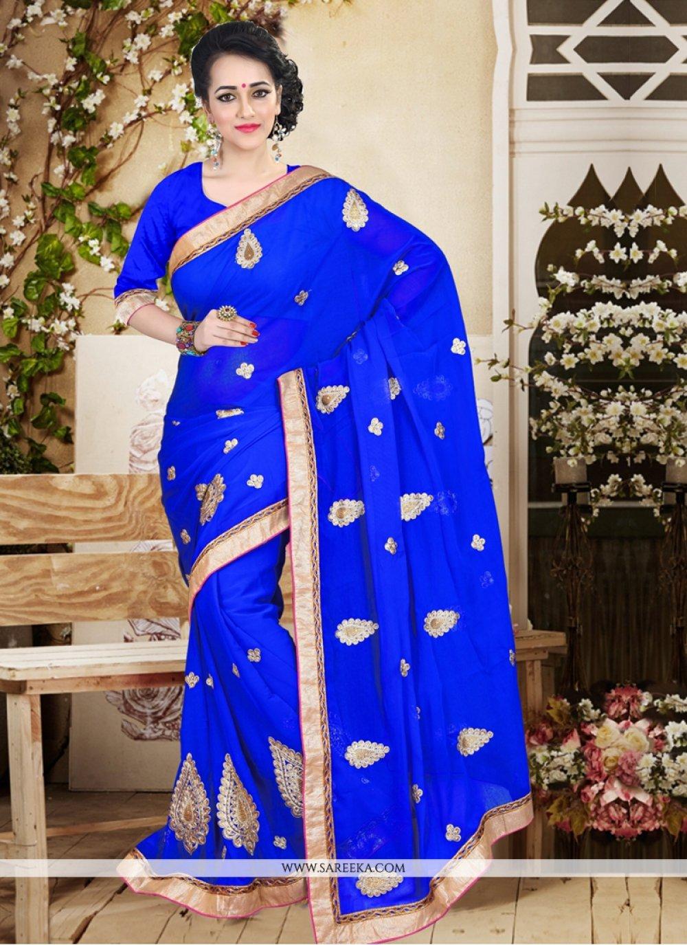 Faux Chiffon Blue Patch Border Work Designer Saree