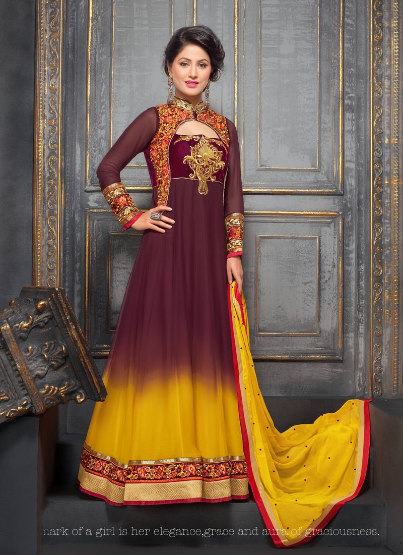 Rust And Yellow Shaded Georgette Anarkali Suit
